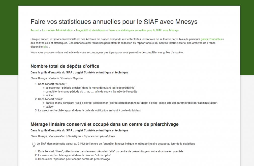 Aperçu de l'article d'aide en ligne permettant de remplir ses grilles du SIAF